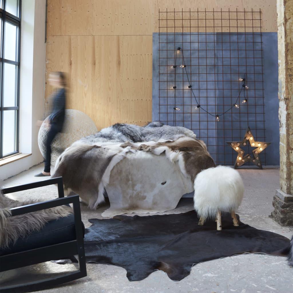 vidaXL Covor din piele de vacă naturală, negru, 150 x 170 cm poza vidaxl.ro