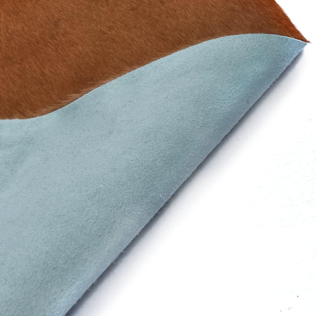 Vloerkleed 150x170 cm echte runderhuid bruin en wit