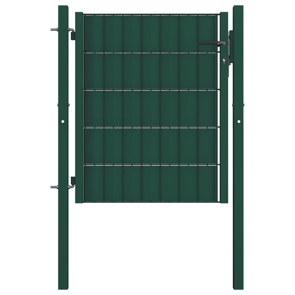 vidaXL Poartă de gard, verde, 100 x 81 cm, oțel vidaxl.ro