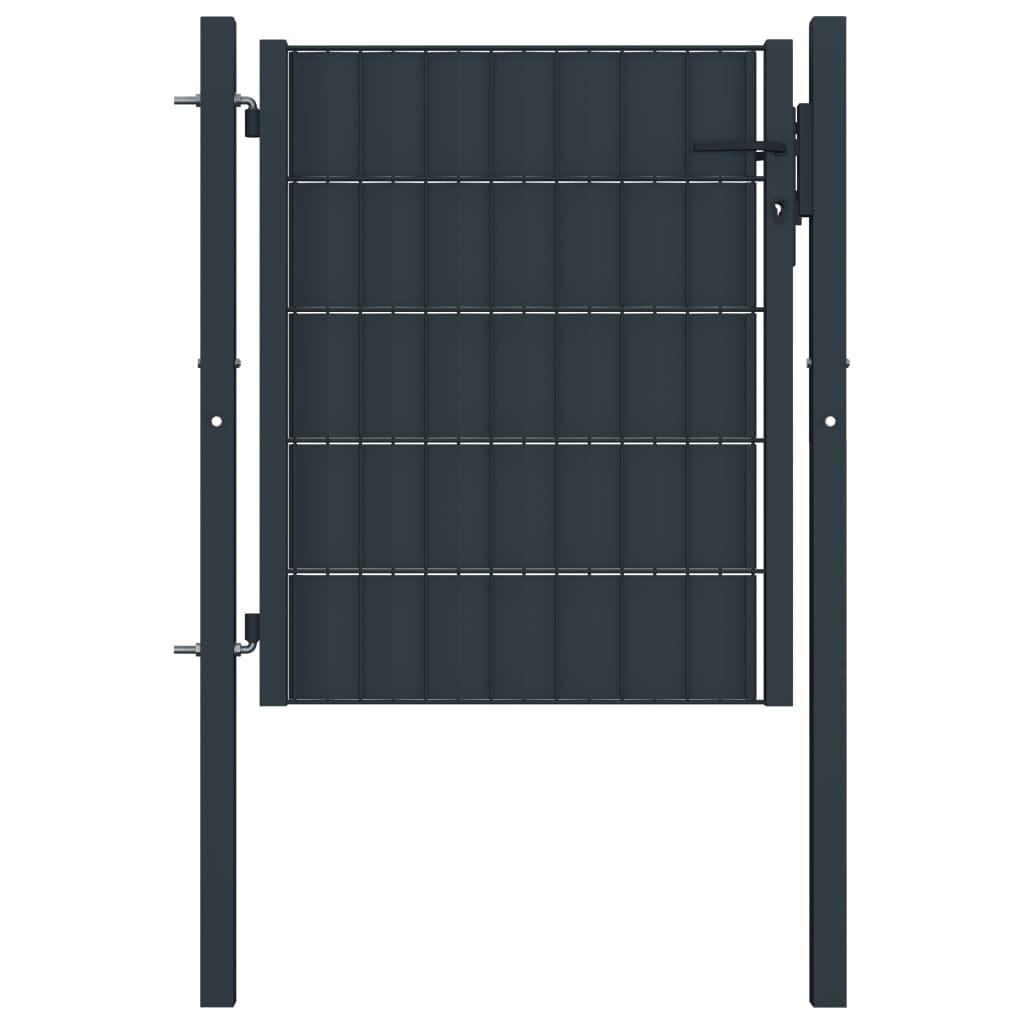 vidaXL Poartă de gard, antracit, 100 x 81 cm, oțel vidaxl.ro