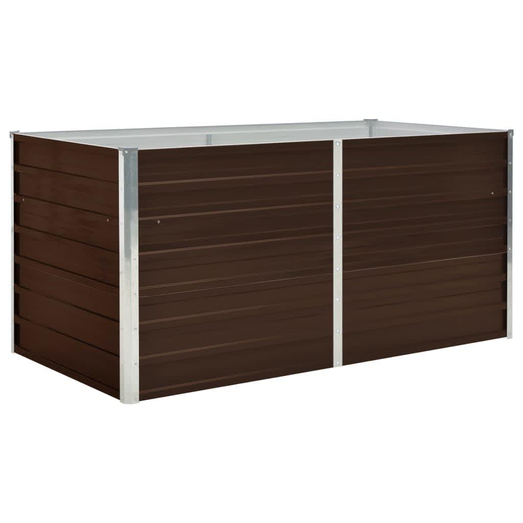 vidaXL Strat înălțat de grădină, maro, 160x80x77 cm, oțel galvanizat poza vidaxl.ro