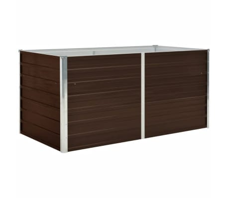 vidaXL Raised Garden Bed Brown 160x80x77 cm Galvanised Steel