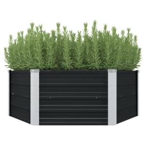 vidaXL Raised Garden Bed Anthracite 129x129x45 cm Galvanised Steel