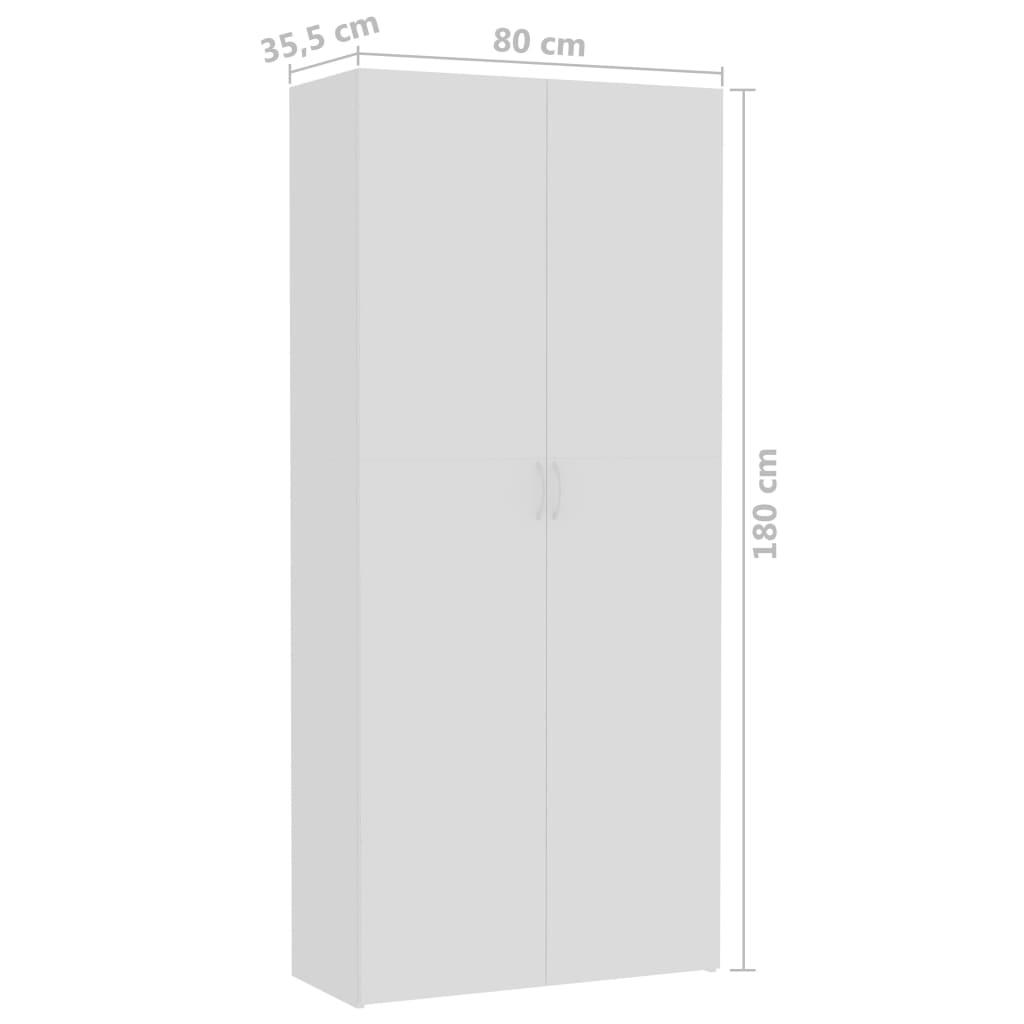 vidaXL Opbergkast 80x35,5x180 cm spaanplaat wit