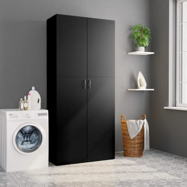 "vidaXL Storage Cabinet Black 31.5""x14""x70.9"" Chipboard[4/8]"