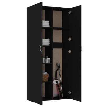"vidaXL Storage Cabinet Black 31.5""x14""x70.9"" Chipboard[5/8]"