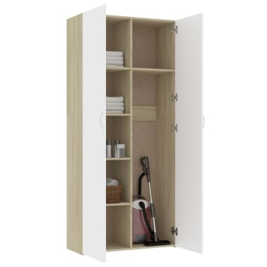 "vidaXL Storage Cabinet White and Sonoma Oak 31.5""x14""x70.9"" Chipboard[5/8]"