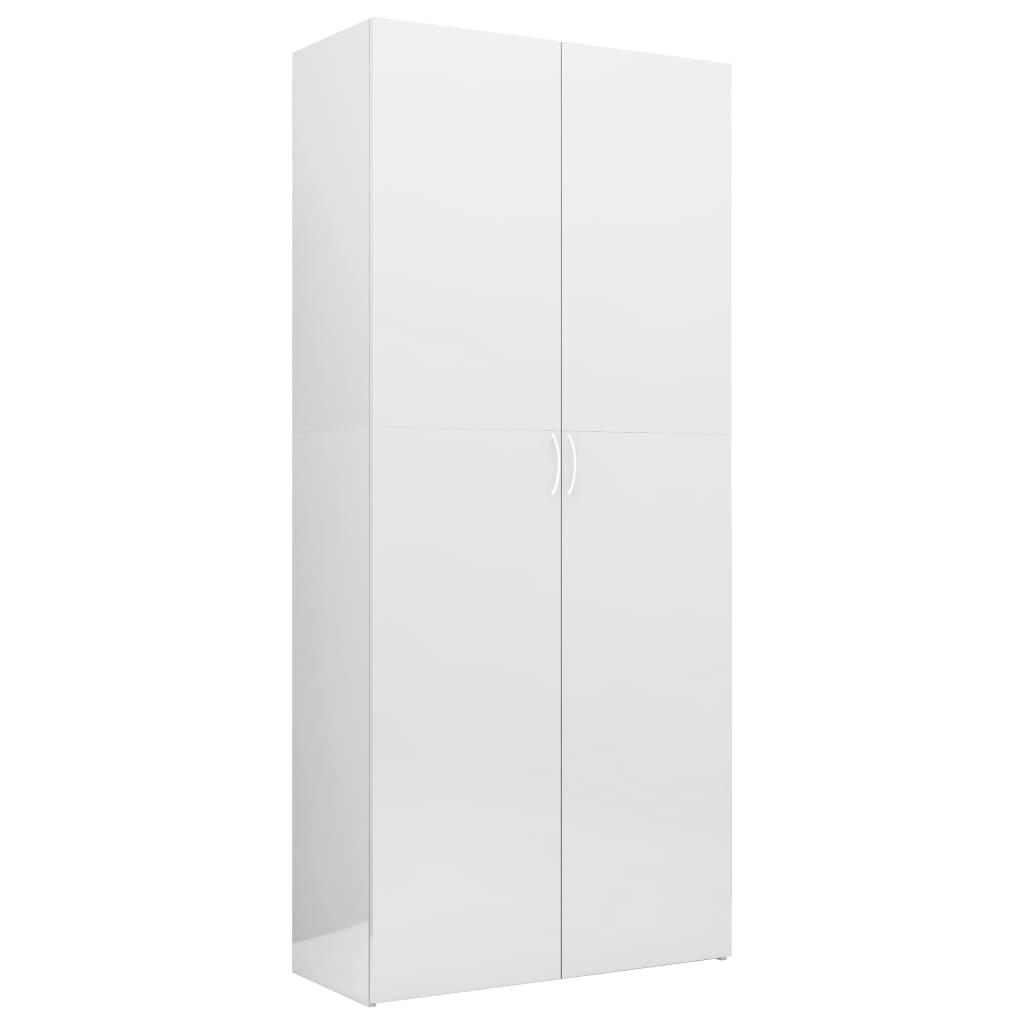 vidaXL Dulap de depozitare, alb lucios, 80 x 35,5 x 180 cm, PAL vidaxl.ro