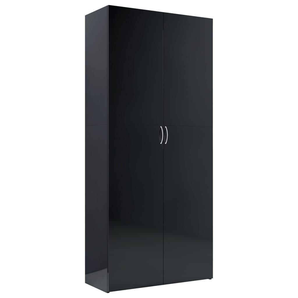 vidaXL Dulap de depozitare, negru lucios, 80 x 35,5 x 180 cm, PAL imagine vidaxl.ro