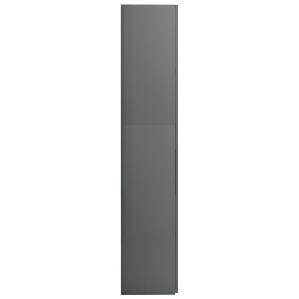 Hoiukapp, kõrgläikega hall, 80 x 35,5 x 180 cm, puitlaastplaat