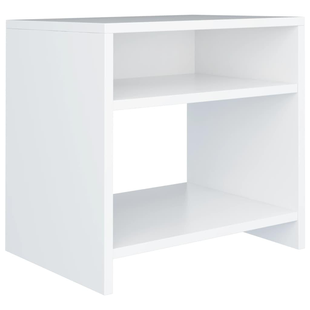 Noční stolek bílý 40 x 30 x 40 cm dřevotříska
