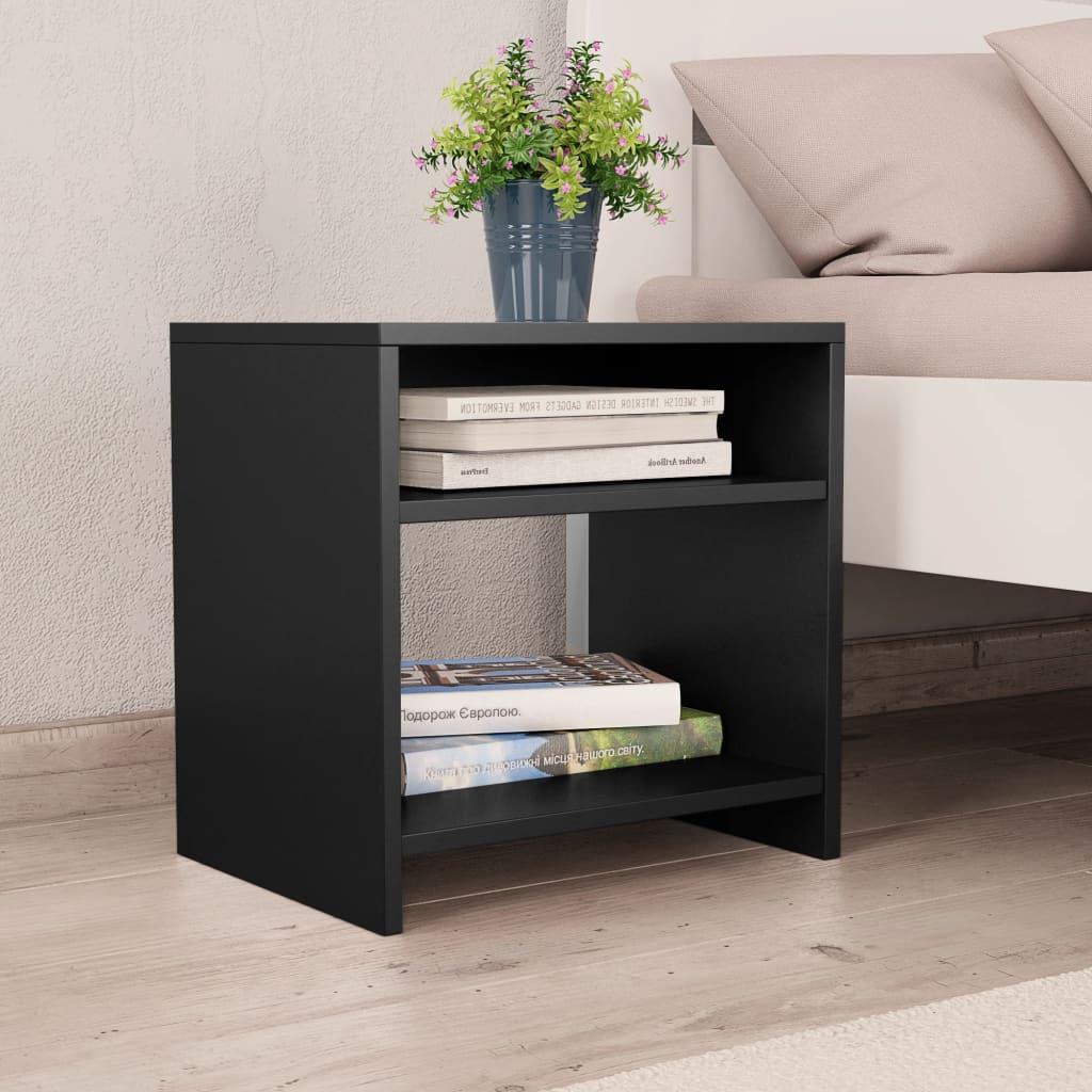 Noční stolek černý 40 x 30 x 40 cm dřevotříska