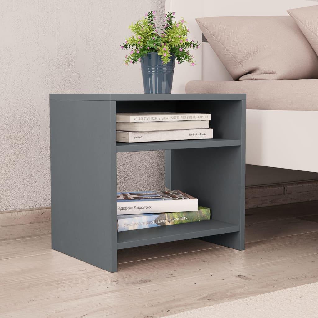 Noční stolek šedý 40 x 30 x 40 cm dřevotříska