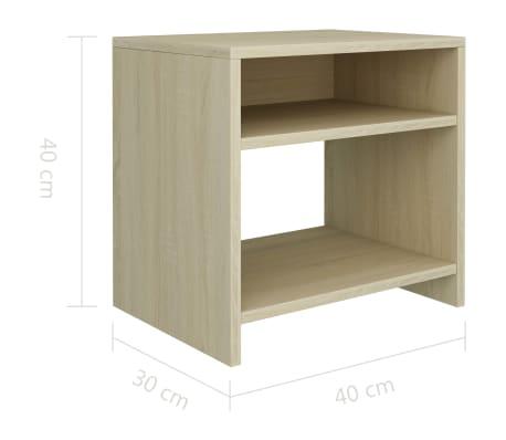 """vidaXL Bedside Cabinet Sonoma Oak 15.7""""x11.8""""x15.7"""" Chipboard[6/6]"""