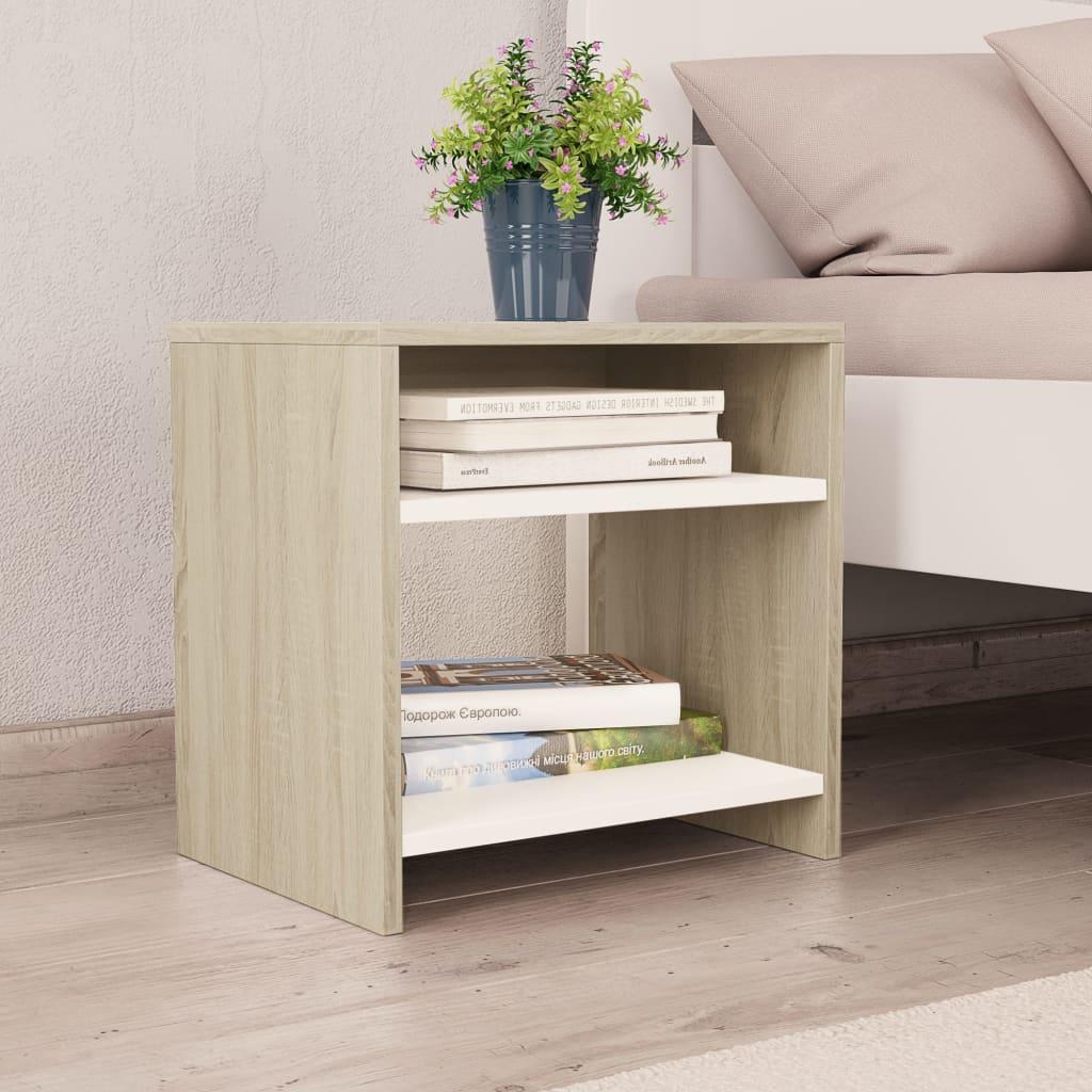 Noční stolek bílý a dub sonoma 40 x 30 x 40 cm dřevotříska