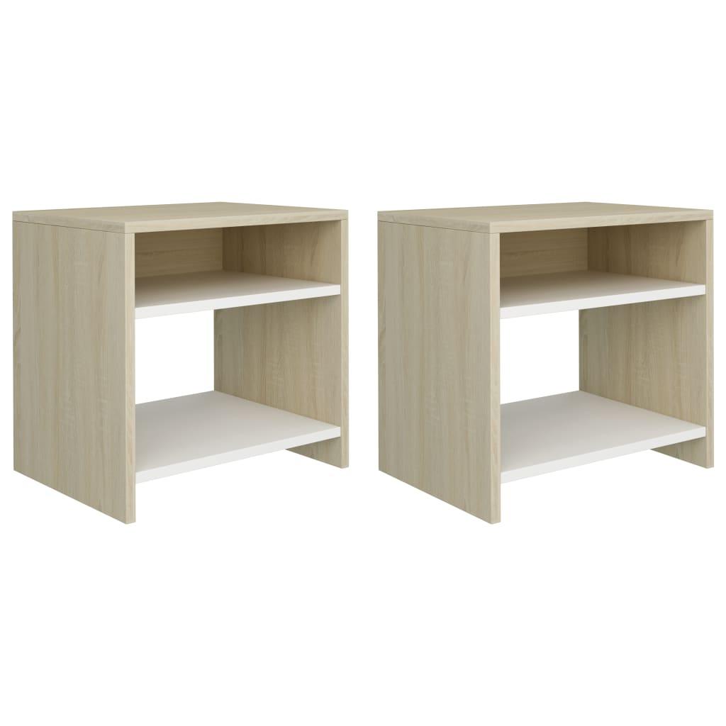 Noční stolky 2 ks bílé a dub sonoma 40 x 30 x 40 cm dřevotříska