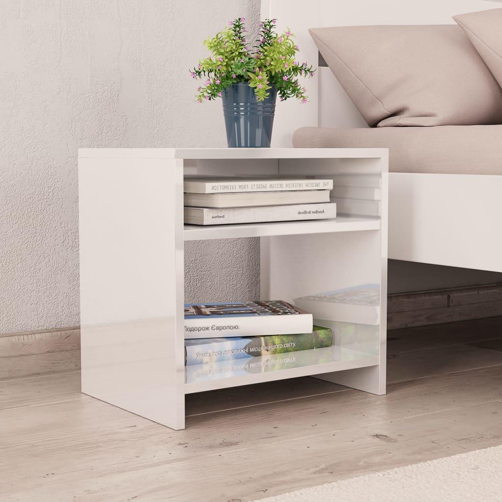 Noční stolek bílý s vysokým leskem 40 x 30 x 40 cm dřevotříska