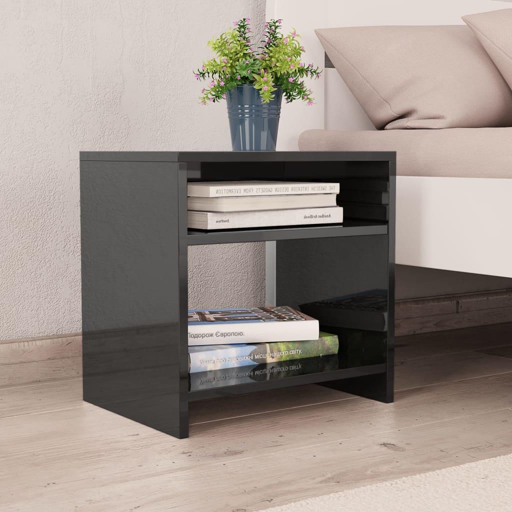 Noční stolek černý s vysokým leskem 40 x 30 x 40 cm dřevotříska