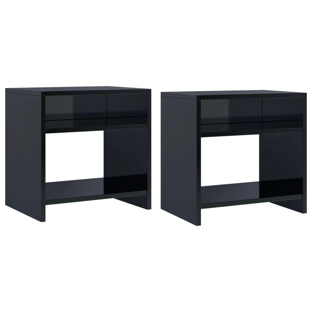 vidaXL Noční stolky 2 ks černé s vysokým leskem 40x30x40cm dřevotříska