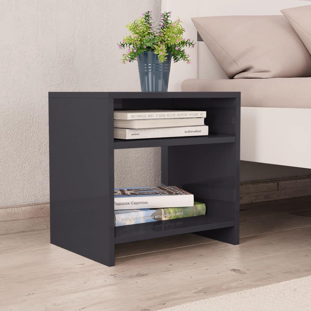 Noční stolek šedý s vysokým leskem 40 x 30 x 40 cm dřevotříska