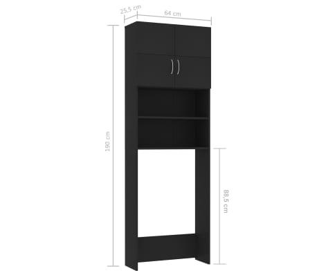 vidaXL Meuble pour machine à laver Noir 64 x 25,5 x 190 cm Aggloméré[8/8]