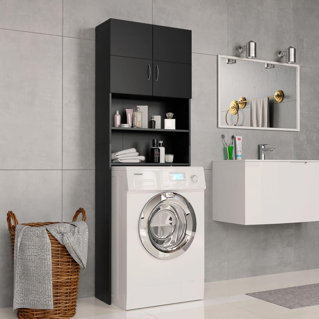 Skříňka nad pračku černá 64 x 25,5 x 190 cm dřevotříska