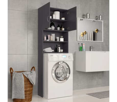 vidaXL Meuble pour machine à laver Gris 64 x 25,5 x 190 cm Aggloméré[3/8]