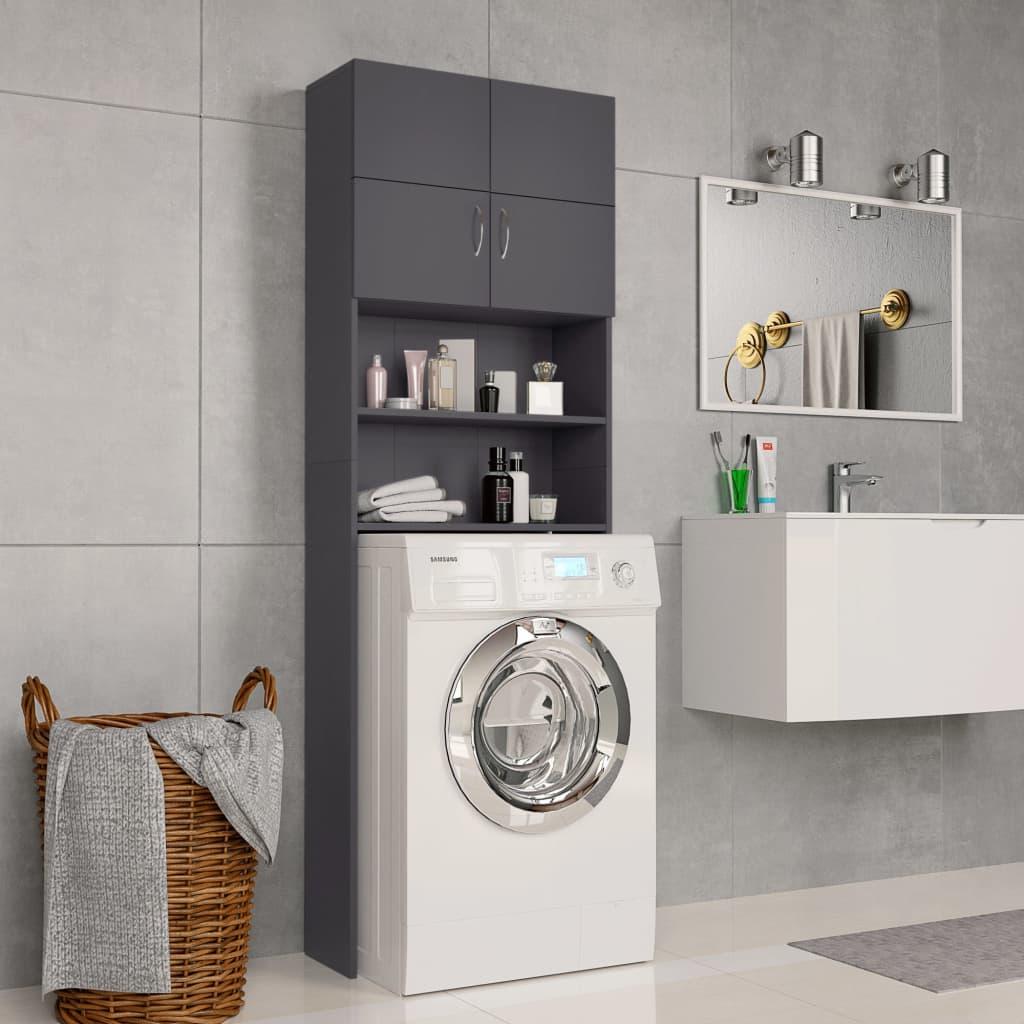 vidaXL Dulap mașina de spălat, gri, 64 x 25,5 x 190 cm, PAL poza 2021 vidaXL
