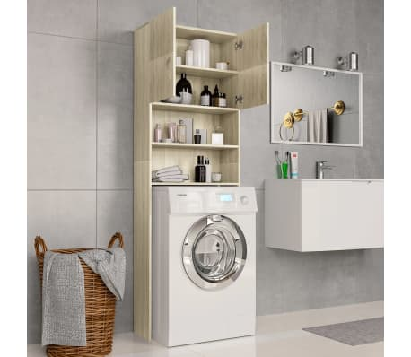 vidaXL Meuble de machine à laver Chêne Sonoma 64x25,5x190 cm Aggloméré[3/8]