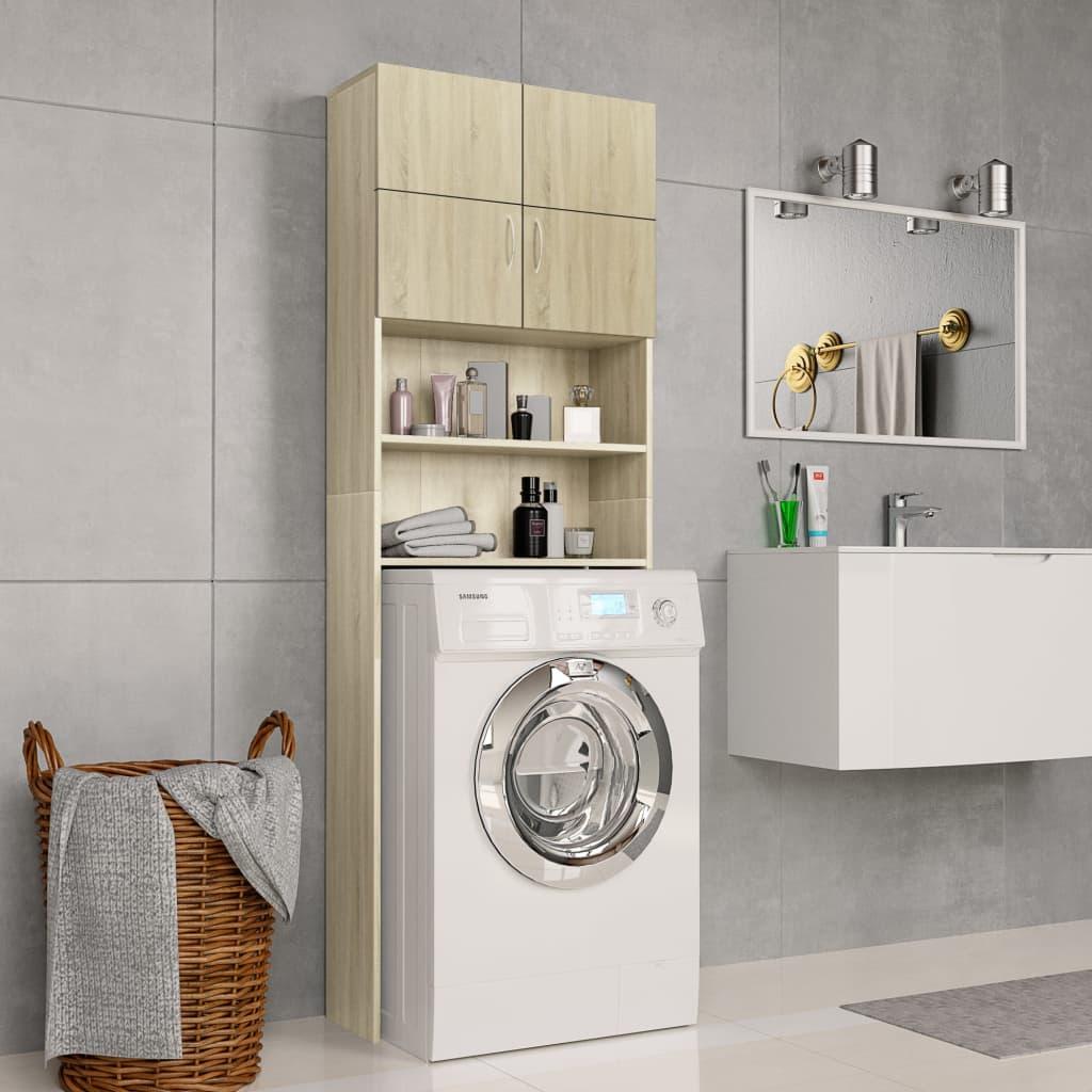 vidaXL Dulap mașina de spălat, stejar Sonoma, 64 x 25,5 x 190 cm, PAL imagine vidaxl.ro