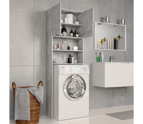 vidaXL Meuble pour machine à laver Gris béton 64x25,5x190 cm Aggloméré[3/8]