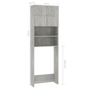 vidaXL Meuble pour machine à laver Gris béton 64x25,5x190 cm Aggloméré[8/8]