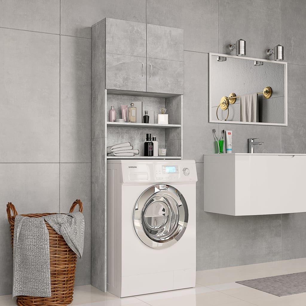 vidaXL Dulap mașină de spălat, gri beton, 64 x 25,5 x 190 cm, PAL poza 2021 vidaXL
