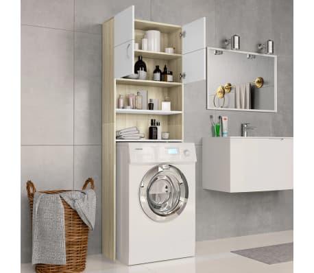 "vidaXL Washing Machine Cabinet White and Sonoma Oak 25.2""x10""x74.8""[3/8]"