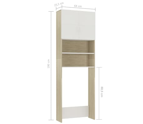 "vidaXL Washing Machine Cabinet White and Sonoma Oak 25.2""x10""x74.8""[8/8]"
