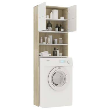 "vidaXL Washing Machine Cabinet White and Sonoma Oak 25.2""x10""x74.8""[4/8]"