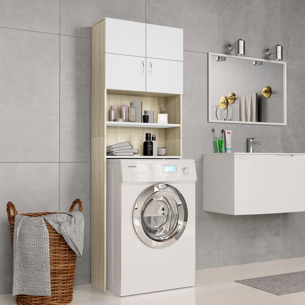 vidaXL Dulap mașină de spălat alb & stejar Sonoma 64x25,5x190 cm PAL poza 2021 vidaXL
