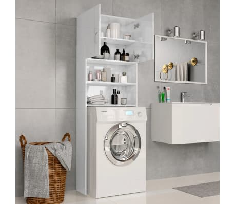 vidaXL Meuble de machine à laver Blanc brillant 64x25,5x190 cm[3/8]