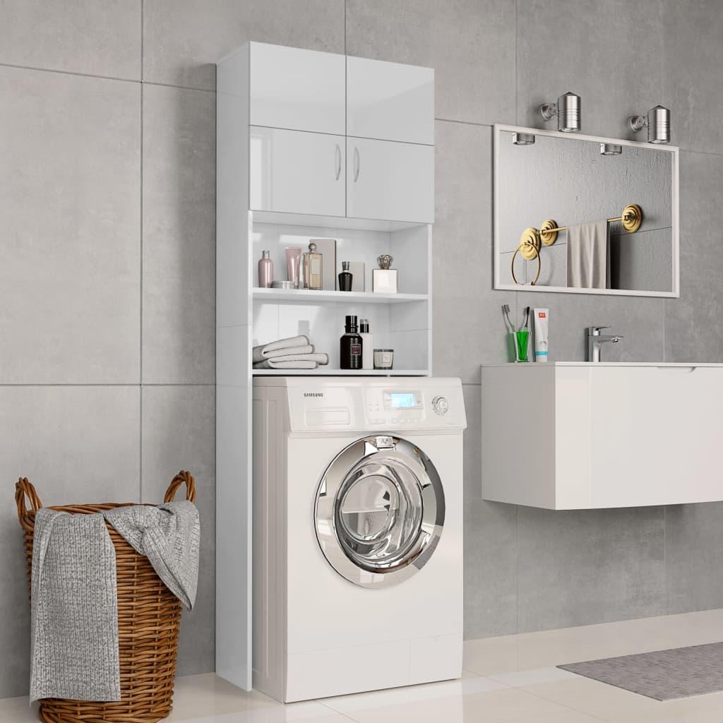vidaXL Dulap mașina de spălat, alb extralucios, 64x25,5x190 cm, PAL imagine vidaxl.ro