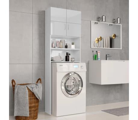 vidaXL Meuble de machine à laver Blanc brillant 64x25,5x190 cm[1/8]
