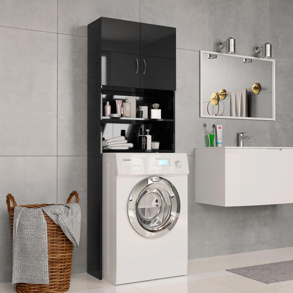 Skříňka nad pračku černá vysoký lesk 64x25,5x190 cm dřevotříska