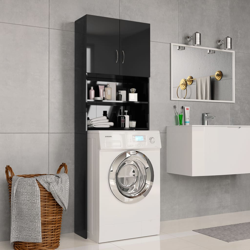 vidaXL Dulap mașina de spălat, negru extralucios, 64x25,5x190 cm, PAL imagine vidaxl.ro