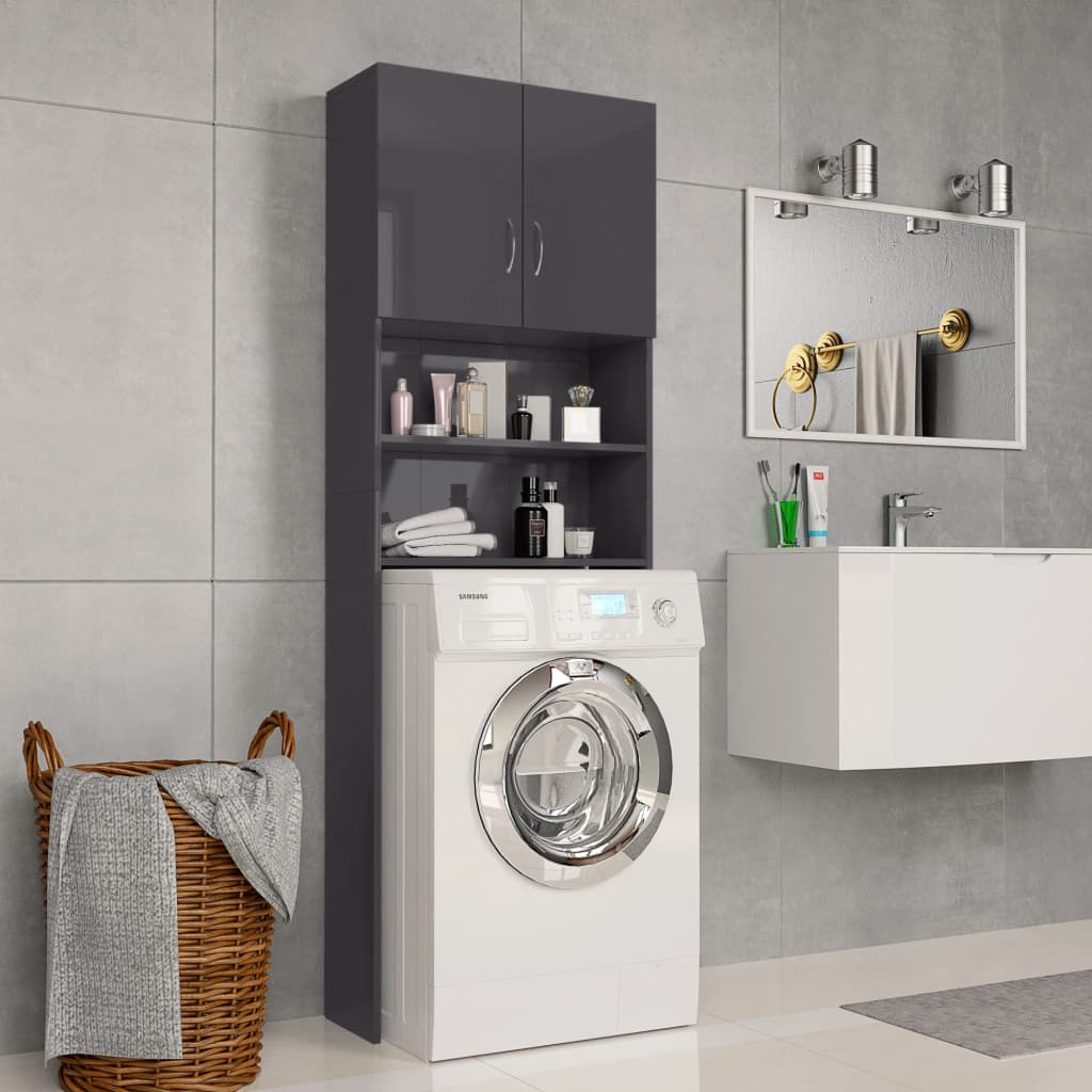 vidaXL Dulap mașina de spălat, gri extralucios, 64x25,5x190 cm, PAL imagine vidaxl.ro