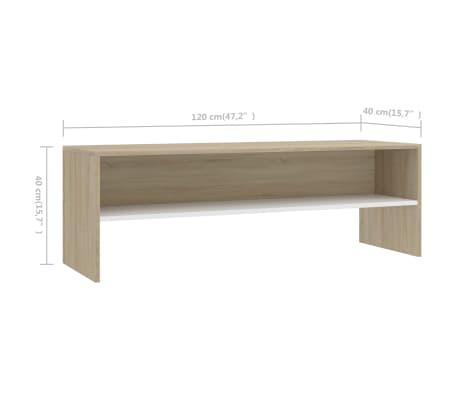 "vidaXL TV Cabinet White and Sonoma Oak 47.2""x15.7""x15.7"" Chipboard[6/6]"