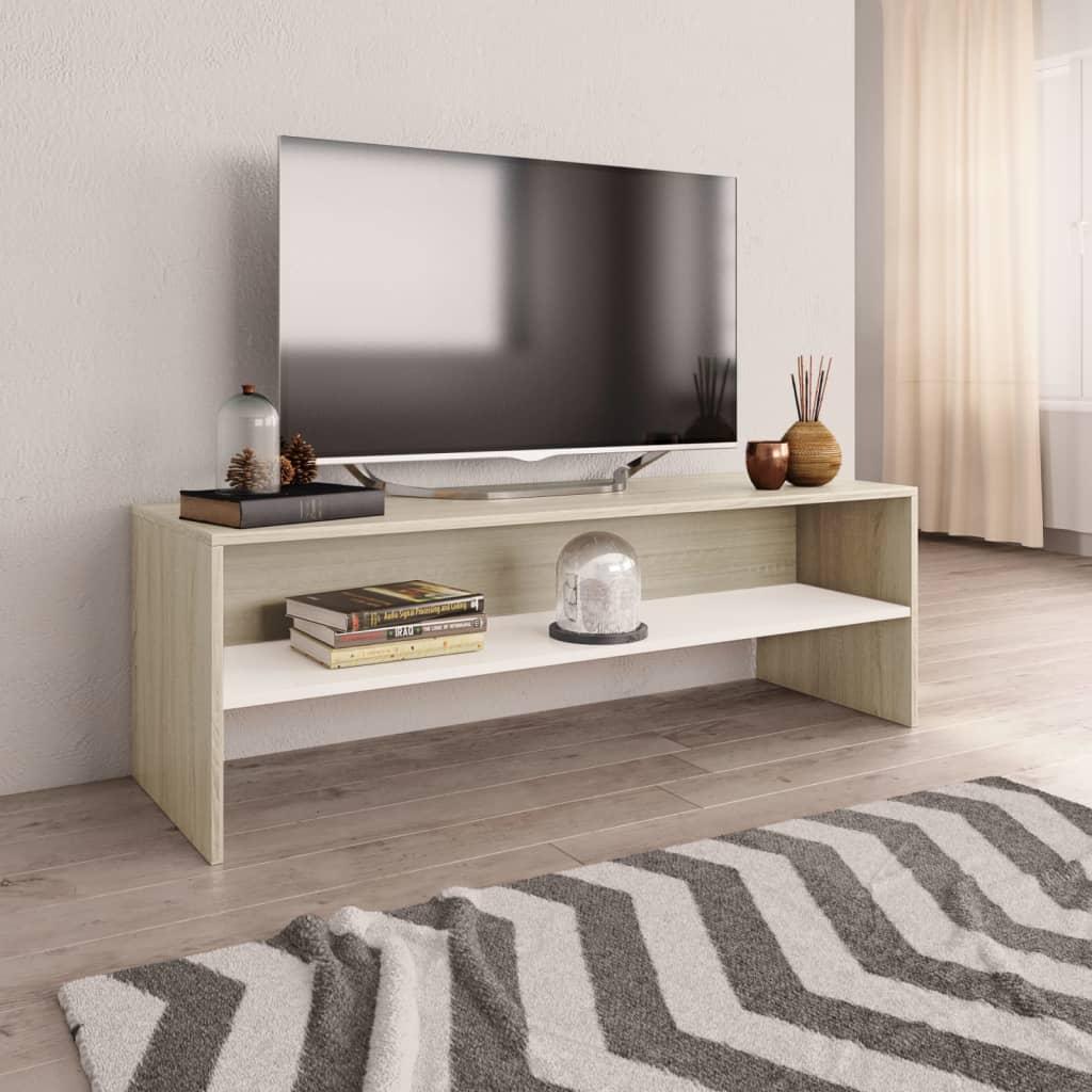TV stolek bílý a dub sonoma 120 x 40 x 40 cm dřevotříska