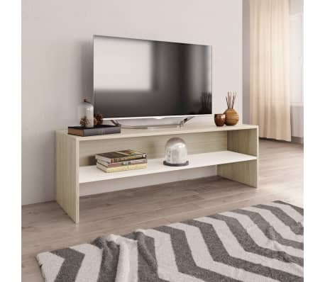 "vidaXL TV Cabinet White and Sonoma Oak 47.2""x15.7""x15.7"" Chipboard[1/6]"