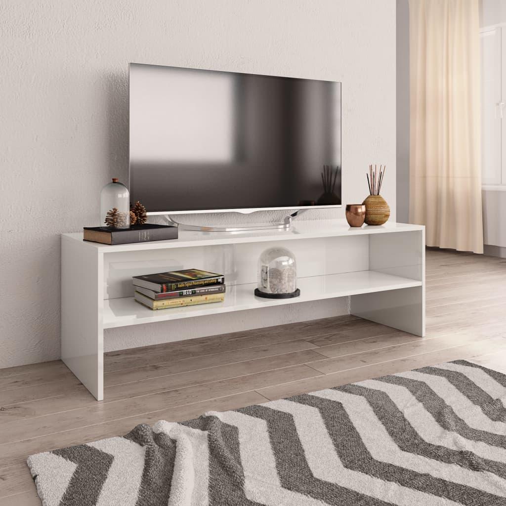 TV stolek bílý s vysokým leskem 120 x 40 x 40 cm dřevotříska