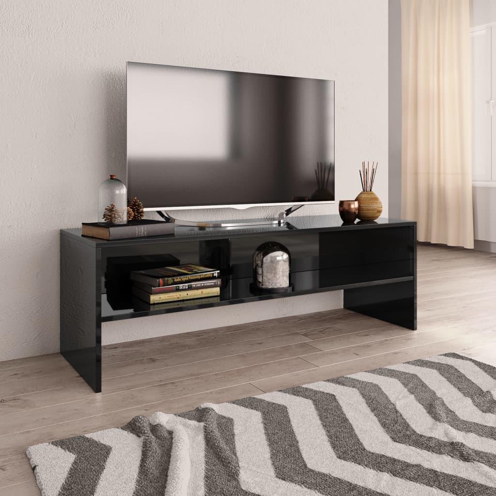 TV stolek černý s vysokým leskem 120 x 40 x 40 cm dřevotříska