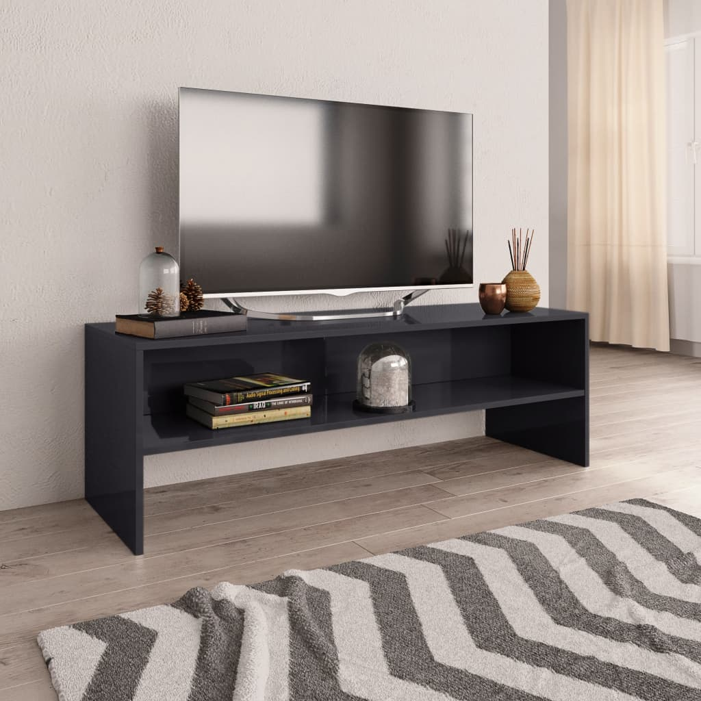 TV stolek šedý s vysokým leskem 120 x 40 x 40 cm dřevotříska