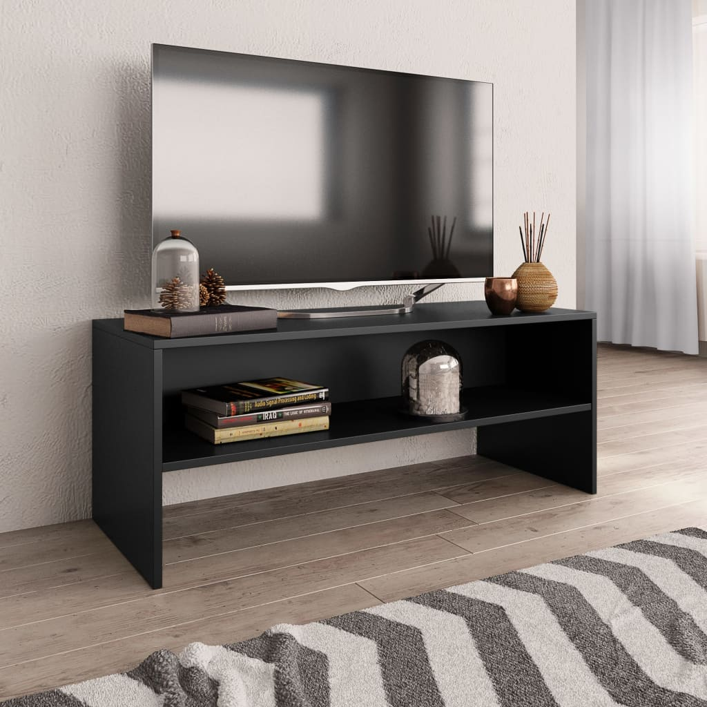 TV stolek černý 100 x 40 x 40 cm dřevotříska